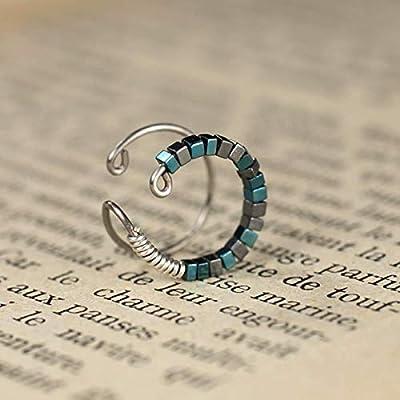 Bague d'oreille helix en titane - Anneaux de cartilage pour oreille non percée - Faux piercing - Perles d'hématite bleues et gris anthracite