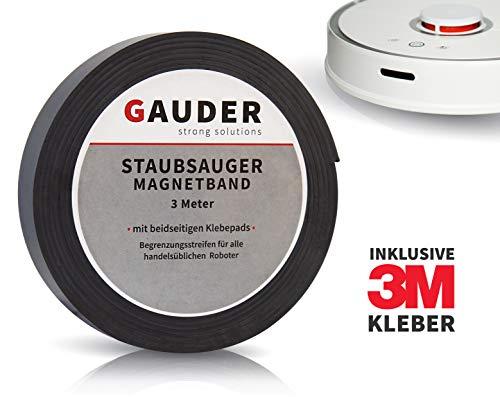 GAUDER Begrenzungsstreifen mit Klebepads für Staubsaugeroboter (3 Meter) I Staubsauger-Magnetband I...