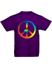 Youth Kids Childrens Tie Dye Peace Symbol CND T-shirt