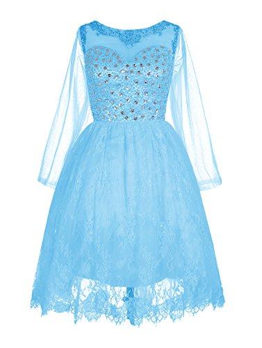 Find Dress Elégant Robe de Bal Mi Longue Princesse Cocktail Pour Mariage Robe Demoiselle d'Honneur Manche Longue Robe de Gala Anniversaire Fête Taille Personnaliser Bleu