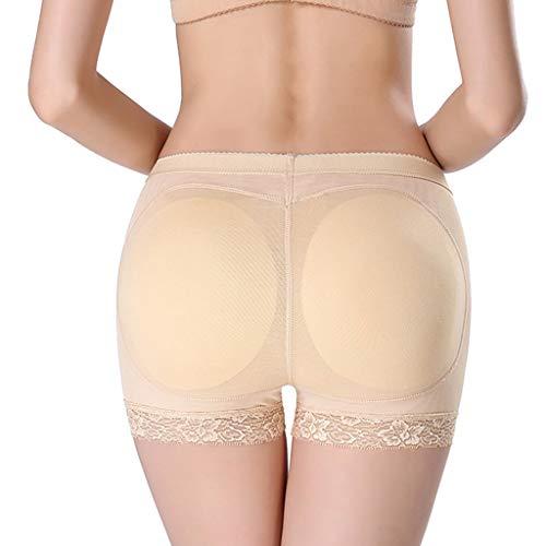 CARRYKT Womens Breathable Mesh Mid Rise Butt Lifter Unterwäsche Seamless Floral Lace Trim Gepolsterte Höschen Hip Enhancer Body Shaper Boyshort - Body Lace Trim