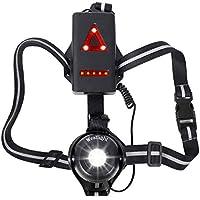 WESTLIGHT - Lampe de course à pied LED rechargeable USB - Étanche - 500 lumens - Angle d'éclairage réglable - Lumière parfaite pour le jogging, la pêche, le camping, pour les enfants et plus encore
