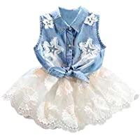 e218d0007 BBsmile 2 piezas para niños pequeños Baby Girls Denim Vest Tops Camiseta  Tutu Falda de tul