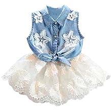 BBsmile 2 piezas para niños pequeños Baby Girls Denim Vest Tops Camiseta Tutu Falda de tul Conjunto de conjunto