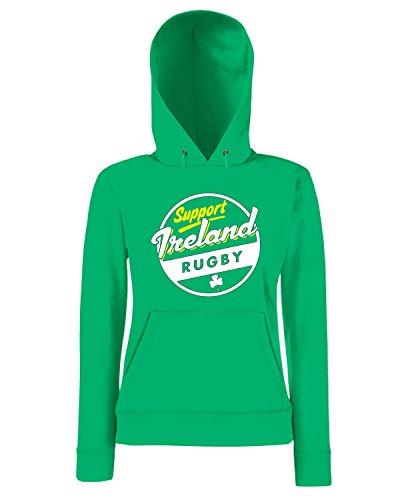 T-Shirtshock - Sweatshirt a capuche Femme TRUG0177 ireland rugby logo Vert