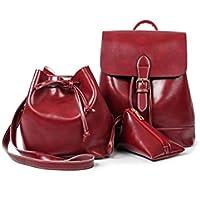 Mesdames Faux Sac à dos en cuir Sac à dos sac à dos des femmes sac à dos avec fermeture à glissière (trois d'un ensemble)