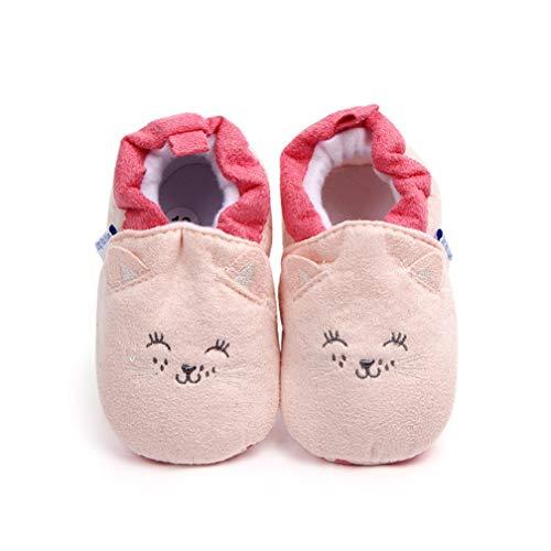 Unisex Baby Cartoon Tier weichen Boden Schuhe Indoor Kleinkind Schuhe (0~6Monat, Rosa Katze)