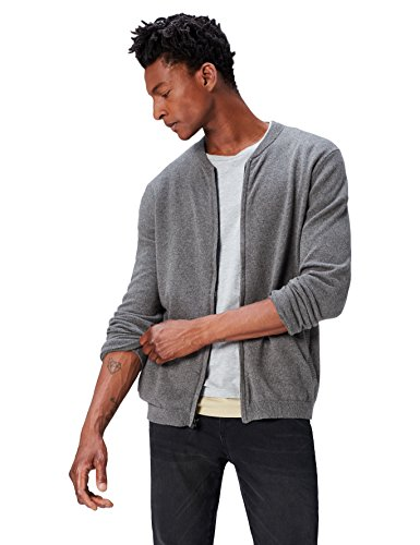 Marque Amazon - find. Gilet Bomber en Tricot Homme, Gris (Charcoal Grey Marl), Large