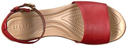 Crocs - Frauen Leigh Ann Ankle Strap Leder Plattformen Granat