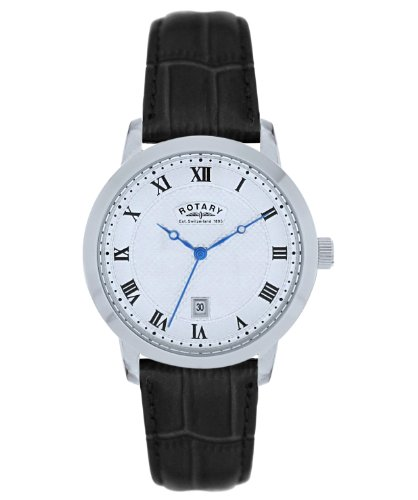 Rotary Ladies Analogue Watch LS42825/01 with Silver Roman Dial and Black Leather Strap