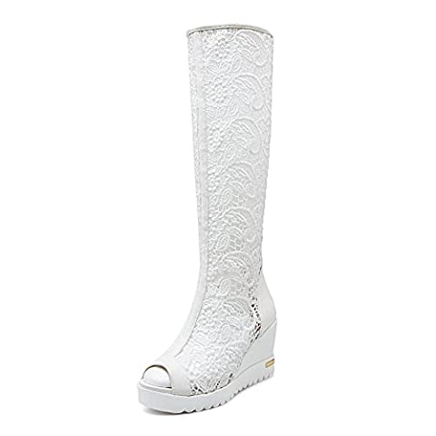 Adee Ladies Zip Rain Comfort White Microfiber Sandals 4.5