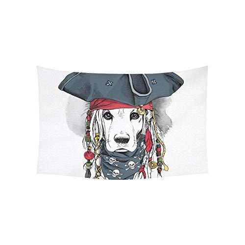 LMFshop Tapisserie Porträt Cocker Spaniel Hund Piratenhut Wandteppiche Wandbehang Blume Psychedelic Tapisserie Wandbehang Indischen Wohnheim Dekor Für Wohnzimmer Schlafzimmer 60 X 40 - Piraten Mädchen Teen Kostüm