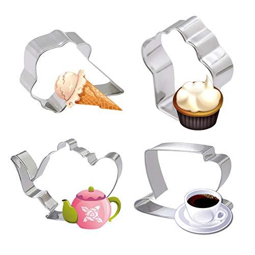 4Stück Tea Party Cookie Cutter set-teapot Teetasse Cupcake Icecream Edelstahl Biscuit Cake Fondant Pancake Ausstechformen Ice Cream Cookie-cutter
