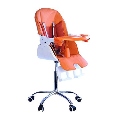 Ioouooi 4 en 1 Chaise Haute réglable bébé, Chaise pivotante en Cuir avec Plateau à Roues pour bébé de Plus de 4 Mois et Adulte (3 Couleurs) ( Color : Orange )