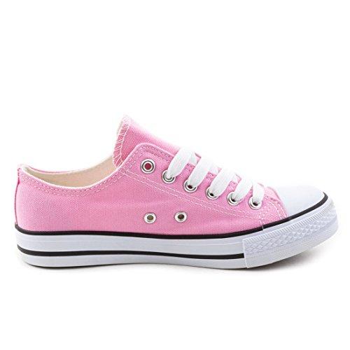 Trendige Unisex Damen Kinder Herren Schn眉r Sneaker Low Top Schuhe Canvas Textil Pink