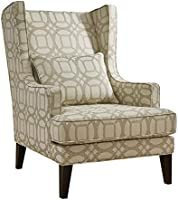 Home Canvas ANNIE Classic Wingback Chair [Beige] Tall Fabric Club Chair for Living Room with Kidney Pillow | Accent Chairs