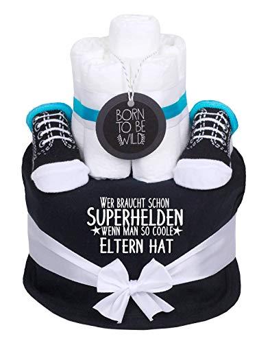 Windeltorte Junge hellblau Little Prinz 1x Lätzchen,1x Sneaker Babysocken