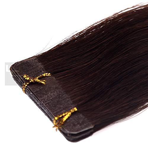 Tape In Extensions 50 cm Echthaar 8er Set Haarverlängerung Haarteile in dunkelbraun
