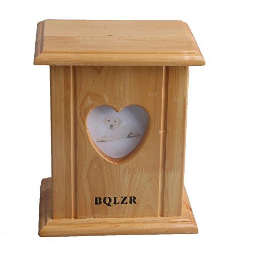 BQLZR 20,4 x 17 x 13 cm de madera de cedro para perro, gato, mascota, caja de recuerdo de cremación, cenizas y urna con marco de fotos en forma de corazón