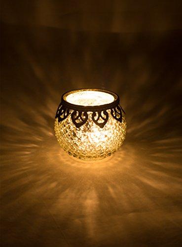 Home&Decorations Teelichtglas, Glas, Silber, 10cm