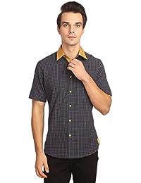Reevolution Men's Self Design Indigo Cotton Shirt (MCHS310329)