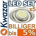 5er Set K-19 Einbaustrahler 24p Smd Led Warmweiss Inkl Gu10 230v Fassung - Nickel Matt Innox von Kwazar