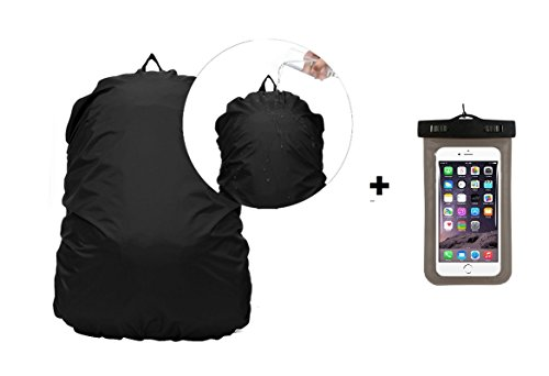 Combo Of Badhiyadeal Black Rucksack Rain Cover + 100% WaterProof Mobile Phone Pouch cover