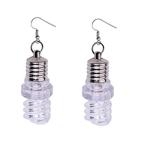 TAOtTAO 1 Paar Bunte leuchtende Birnenohrringe Mode Frauen Leuchten Ohrring LED Blinkende Birne Ohrbügel Baumeln Schmuck (B)