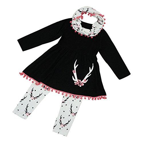 Kleid Mädchen Winter Tunika Tops Hosen Schal 3PCS Kinder Kleidung Set