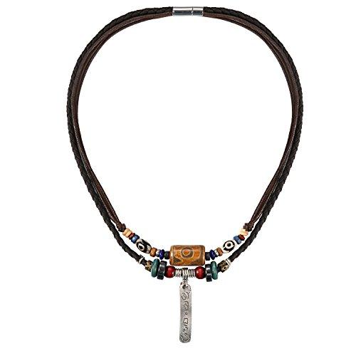 JewelryWe Schmuck Herren Lederkette, Retro OM Mani Padme Hum Mantra Tag Anhänger Mehrreihig Design mit Leder Halskette Kette, Braun, Geschenk für Männer Junge
