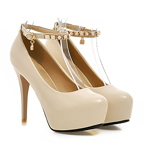 YE Damen Knöchelriemen High Heels Plateau Geschlossen Runde Pumps mit Perlen Stilettos Party Elegant Mordern Schuhe Beige