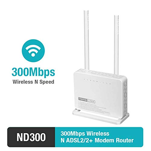KAIDILA Router, DN300 Multifunktionale Wireless-N 300Mbps ADSL Modem WLAN Router & mit Hohen Gain-Antenne 2 x 5dBi (Wireless-n-router-dual-band)
