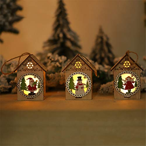 Kostüm Flash Nette - LED-Licht-Holzhaus-Nette Weihnachtsbaum-hängende Verzierungs-Feiertags-Dekoration, Festival dekor, Christmas, Halloween, Weihnachtsdekoration, Halloween deko, Halloween kostüm (B)