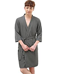 57f24472ac OKSakady Men and Women Cotton Waffle Kimono Bathrobe Spa Robe