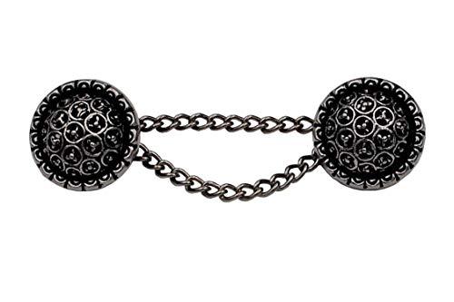 gewölbte Silber antik Knöpfe mit Kette Kettenknöpfe filigranes Muster 19mm, Kette 50mm Verschluss Jacke