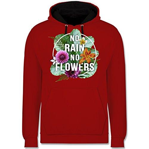 Blumen & Pflanzen - No Rain No Flowers - Kontrast Hoodie Rot/Schwarz