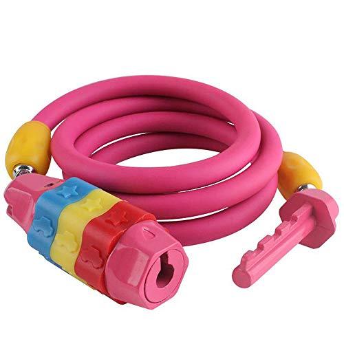 MYFGBB Kind Fahrradschloss, Passwortsperre Diebstahlsicherung Kabelschloss Fahrrad, rücksetzbare Kombination Kabel Fahrradschloss,Pink -