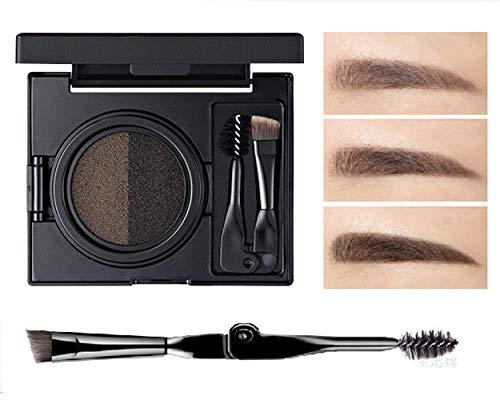 Frauen-zwei Farben Matto Luftpolster Farbstoff Augenbrauen Creme Langlebiges Antischweiß Make-up für Mädchen (Grau)