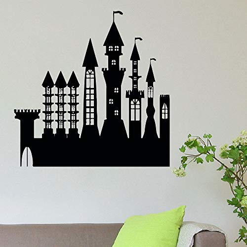 WWYJN Wall Decal Castle Palace Wall Sticker Home Art Decor Girls Room Wall Art Mural Removable Castle Silhouette Wall Poster Black 42x42CM