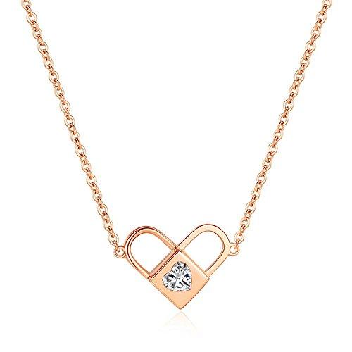QIYUEQI Ms Halskette Herz-förmige Arretierung Rose Gold Titan Stahl Schlüsselbein Halskette Mädchen Schmuck personalisierte Hals Dekorationen