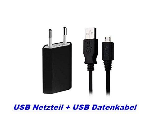 3in1 V8 SPAR SET Schwarz Ladegerät Ladekabel Universal USB Netzteil + USB Micro Datenkabel für HTC Sony Ericsson Nokia Huawei (Micro-max 4g Handy)