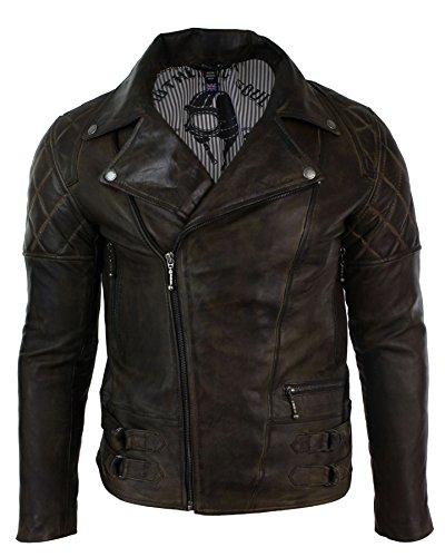 Herrenjacke 100{1e3906d5593b842d5f4691abc5243d7b4eaf7754a8bbcfb0ccf7f790a89c290e} Echtleder Braun Holzbraun Vintage Retro Biker Rock Design