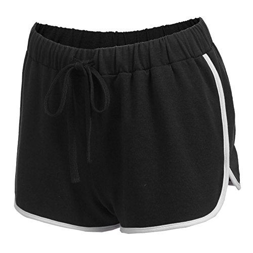 Damen Kurze Hose Shorts Schlafanzughose Schlafhose Yoga Sporthose Running Gym Beiläufige Elastische Shorts, Schwarz, Gr. L(40-44)