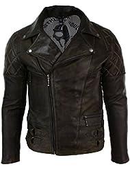 Blouson homme cuir véritable marron style biker rock coupe ceintrée fermeture diagonale