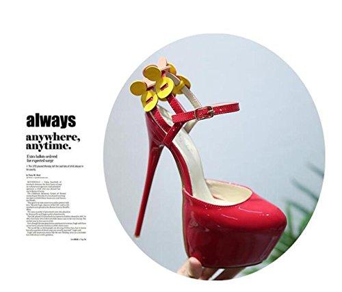 Beauqueen Bar Hochzeit 6.5 cm Plattform Pumps 17 cm Stiletto High Heel Knöchelriemen Nette Dekoration Frauen Hollow Runde Peep Toe Anti-Rutsch Wearable Feminine Party OL Sandalen Red