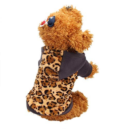InSense Small-Size Dog Customes, Pet Puppy Dog Cat Warm Hoodie Sweater Apparel Coat Customes (Leopard)