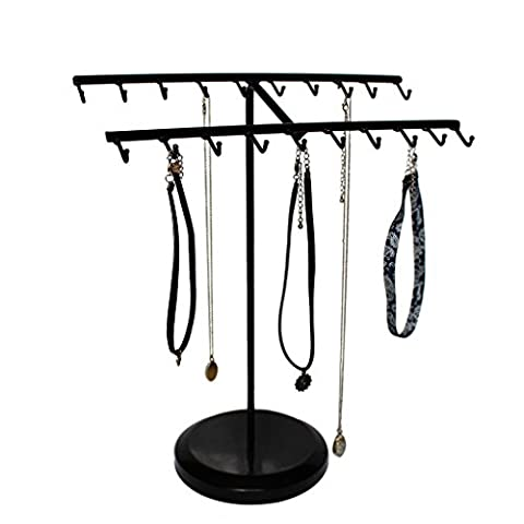 15 Inch Black Metal 20 Hook Jewelry Organizer Rack By Kurtzy - Suitable For Hanging Or Displaying Bracelets, Necklaces, Rings And More - Great Gift For Girls and