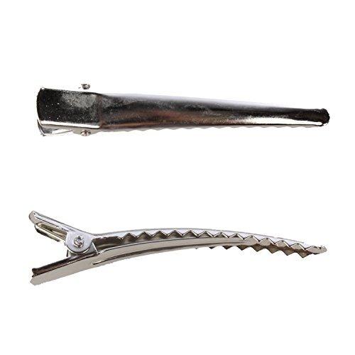 TOOGOO(R) Sac en vrac 6cm Argent Pince crocodile de Cheveux-100 Pinces