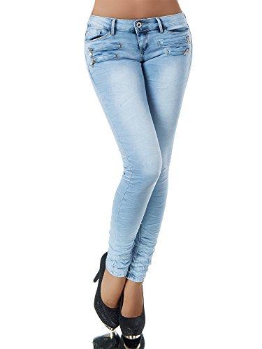 L851 Damen Jeans Hose Hüfthose Damenjeans Hüftjeans Röhrenjeans Röhrenhose Röhre, Größen:36 (S), Farben:Hellblau