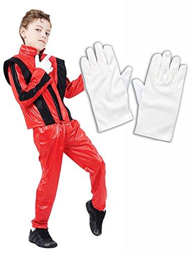 (Michael Jackson Jungen 80er Kostüm, Weiß)